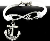 Wholesale Anchor Bracelet Velvet - 10pcs Vintage Silver Love Infinity Anchor Charms Bracelets Bangle For Women Mixed Color Velvet Rope Bracelet Jewelry Gift Accessories