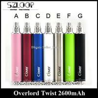 Wholesale Ego Twist Original - Original Clover Overlord Twist Battery Variable Voltage 2600mah E Cigarette Battery 3.2V-4.8V vs EGO II Twist XDOG II Battery