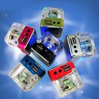 Wholesale mini mp3 player crystal for sale - Nizhi TT Mini Portable LCD Crystal Loundspeaker Subwoofer Speaker Micro SD Card FM Radio MP3 Player Music Speakers DHL Free MIS123