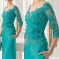 Wholesale Three Quarter Length Sleeve Plus - New Fashion Three Quarters Sleeves Green Evening Dress Long Mother of the Bride Lace Dresses 2015 plus mother of the bride dress elegant