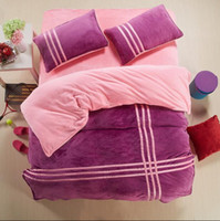 Wholesale King Size Comforters Sale - Wholesale-Hot sale Solid color 4pcs bedding sets queen king size red and black stripes comforter duvet cover bed sheet bedclothes cotton