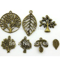 90pcs gemischte Laubbäume Weinlese-antiker Messing Metal Jewelry Charms