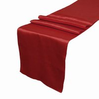 Wholesale Dark Red Table Runners - 5 pcs lot Dark Red Deep Red Crimson Satin Table Runner Wedding Cloth Runners Silk Organza Holiday Favor -RUN