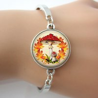 ingrosso gioielli funghi-Funghi foglia braccialetto bangle arte immagine del pendente del braccialetto, foto ciondolo artigianali polsino del braccialetto, nuovi monili di modo per il regalo G013