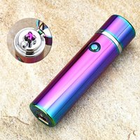 Wholesale Plasma Cool - Retail Novelty Electronic Cigarette Lighters Windproof Electronic Smoke Cigarette Lighter Cool Cylinder Dual Arc Plasma Rechargeable Lighter