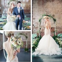 Wholesale Sleeve High Quality Wedding Dress - 2015 Lace Wedding Dresses Mermaid Summer Spring Bridal Gowns Spaghetti Straps Backless Beading Tulle Sexy Wedding Gowns high quality gowns