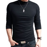 Wholesale Cotton Lycra Shirts Wholesale - Wholesale-100% quality Men's long-sleeve T-shirt Sexy turtleneck high-elastic lycra cotton shirt 4 colors S-XXXL st-803Free shipping