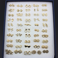 Wholesale Wholesale Butterfly Earrings - Jewelry Wholesale 50pairs Mixed Style Gold Color Crystal Flower Hello Kitty Butterfly Strawberry Heart Stud Earrings Gift ME130