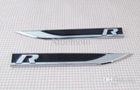 Wholesale Fender Head - Wholesale-Freeshipping 2pcs Black R line FENDER side wing Emblem Badge Sticker for vw Passat CC TOUAREG TOURAN
