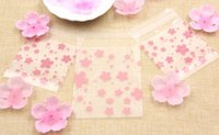 Wholesale Plastic Cookie Bags Wholesale - Hot!100PCS Lot 3Sizes Lovely Pink Cherry Blossoms Cookie&Candy Bag Self-Adhesive Plastic Bags For Biscuits Snack Baking Package