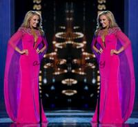 vestidos de gasa para mujeres al por mayor-Miss USA Pageant 2018 Vestidos de noche con capa de gasa fucsia Cuello de abalorios Sumergir Vaina Mujeres Ropa formal árabe Celebrity Vestidos de baile