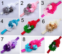 Wholesale Headbands Newborn Cheap - Kids Hair Accessories Cute Colors Cheap Hair Accessories Chiffon Material with Flowers Newborn Baby Girl Headbands LY002