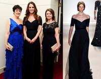 Wholesale Navy Belt Dress - 2015 Zuhair Murad Evening Dresses Kate Middleton in Jenny Packham Off Shoulder Short Sleeve A line Navy Blue Tulle Belt Prom Gowns Elegant