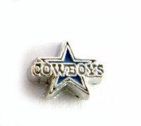 Wholesale Football Glasses - 20PCS lot Football Cowboys DIY Alloy Sport Floating Charms Fit For Magnetic Memory Glass Living Locket