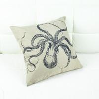 Wholesale Vintage Octopus - Wholesale-Linen Vintage Pillow Case Creative Animal Cartoon Octopus 44 X 44CM Throw Pillow Case Pillow Cover