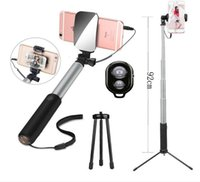 HOT Teoyall Extendable Monopod Selfie Stick, мини-штатив, заднее зеркало, Bluetooth-контроль Проводной встроенный пульт дистанционного управления
