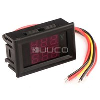 All'ingrosso-2in1 voltmetro DC0 ~ 33.0V / 1A Ampere Tensione metro DC 12V / 24V LED rosso Dual Display Tensione Current Meter