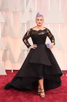 Wholesale Lace Scallop Bateau Dress - 2015 Oscar Kelly Osbourne Celebrity Dress Long Sleeved Lace Scallop Black High Low Red Carpet Sheer Evening Dresses Black Ball Gown