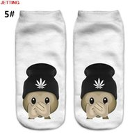 JETTING-Unisex Fashion Divertenti Emoji Monkey 3D Print Sock Uomo Low Cut Ankle Socks Maglieria di cotone White Printed Casual Sock
