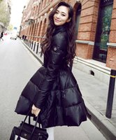 Wholesale Types Zipper Coatings - Wholesale-2015 Promotion Real Zipper Women Beautiful Winter High Collar Down Jackets Long Coat Jacket Female Ladies Waisted Big Swing Type