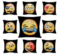 Wholesale Funny Pillowcases - 40*40cm Emoji Cushion Cover Reversible DIY Sequin Mermaid Pillow Case Funny Changing Smiley Faces Decorative Pillowcase