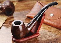 Wholesale Smoking Ebony Pipe - Ebony wood Smoking Pipes wood Tobacco Pipes Hand pipes VS Glass smoking Pipes Glass Tobacco Pipes