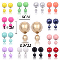 Wholesale double stud ear cuff - Earrings for Woman men earrings studs Ear Cuffing Statement Fashion Jewelry New ROUND STUD Earring 18k Double Pearl Round Stud Earrings