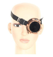 Wholesale Punk Cosplay - Single Eye Steampunk Cosplay Glasses Double Layer Welding Glare Windproof Mirror Punk Vintage Goths Goggle 6Pcs Lot Free Shipping