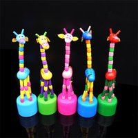 Wholesale wooden giraffe toys for sale - Cartoon Wooden Toys Creative Design Dancing Stand Rocking Giraffe Toy Kids Birthday Gift Multi Color ds C R
