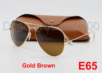 Wholesale Sunglasses Glasses Gold Men - Designer Classic Pilot Sunglasses Mens Womes Sun Glasses Eyewear Gold Frame Brown 58mm 62mm Glass Lenses Large Metal With Better Brown Case