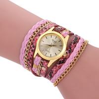quarzuhr leder lang großhandel-Neue einfache Schlange Design handgemachte Webart Uhr Mode Frauen Leder Armband Quarzuhr Multicolor lange Riemen Kleid Armbanduhren