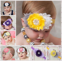 Wholesale Assorted Hair - Wholesale Cute Baby girls headbands mix Flower assorted colors Children Hair Accessories Fashion Kids Flower Elastic Hair Bands KHA86