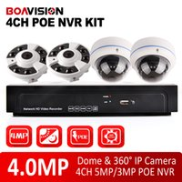 Wholesale Dome Poe - 4Pcs 4MP(2592*1520) Dome POE IP Camera Video Security Surveillance System Kit PoE 4Ch NVR Recorder System Kit With 360 Degree Fisheye View