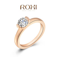 Wholesale 24k Gold Wedding Rings Wholesale - Hot Selling 2016 Fashion Crystal Full Size Zircon Ring Wedding Engagement Ring Bride Jewelry 24K Rose Gold Filled A036