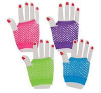 Wholesale Mesh Net Gloves - 2016 new Fashion Neon Short Fishnet Gloves Fish Net Black Fancy Dress Party Dance Club Nylon+Spandex Mesh Short Gloves free shipping