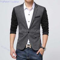 Wholesale Urban Design - new style men blazer 2015 suit men brand casual jacket latest coat designs leather patch blazers men urban clothing pea coats