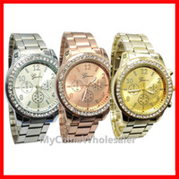 Wholesale Geneva Crystal - Top Quality Diamond AAA Watch Geneva Stainless Steel Watch Metal Wrist Watches for Women Fashion Luxury Gold Crystal Quartz Rhinestone Lady
