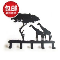 Wholesale Bear Works Clothes - Giraffe creative hanging clothes rural style, wrought iron towel hanging decorative wall hook bearing strength is strong, original