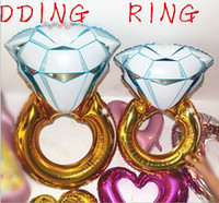 Wholesale Large Wedding Balloons - 30inch&43inch ring balloons Large Diamond Ring shape Mylar Balloons Party Metallized Balloons Wedding Foil balloons Helium Balloons