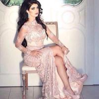 Wholesale Hi Lo Side Slit Gown - Lace Long Sleeves Arabic Evening Dresses Mermaid High Side Slit Evening Gowns Dubai Arabic Dresses robe de soiree