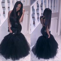 Wholesale Girls Short Natural Pageant Dresses - Sparkly Black Girls Mermaid African Prom Dresses 2017 Halter Neck Sequins Tulle Sexy Corset Formal Dress Cheap Party Pageant Gowns