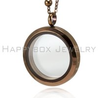 Wholesale Chocolate Living Locket - Hot selling chocolate brown floating locket 30mm 316L stainless steel glass living locket pendant not including the chain free shipping