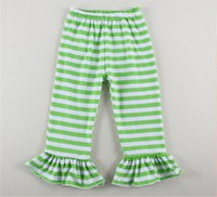 Vente en gros en Chine pas cher enfants Knit Leggings, Green Stripe Ruffle Girls Leggings, Coton Tricot Summer Toddler Girls Pantalon rayé