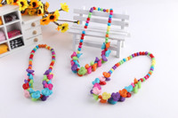 Wholesale Wood Beads Children - 2016 New Hot Children kid Bauble jewelry set handmade necklace Bead Bracelet Bead rose flower necklace