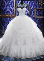 Wholesale Strapless Puffy Wedding Dresses - Arabic Crystal Beaded Gowns Ball Gown Wedding Dresses Strapless Sweetheart Zipper Back Tulle Puffy Wedding Gown Bridal Dress 2016