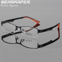 Wholesale titanium spectacles half frame resale online - WEARKAPER Fashion Half Rimmed Stainless Frame TR Arms Optical Glasses Frame Males Myopia Spectacle Frames