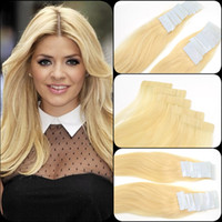 Wholesale Thick Tape Hair Extensions - 60# White Blonde Color Skin Weft European Girl Beauty Thick 6A Virgin Remy Tape Hair Extension 20 Pieces 50 Grams