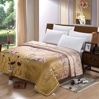 Wholesale Silk Comforter Brown - Comforter Summer brown Silk-feeling Polyester Printed Flower Classic Chinese Style Exquisite Soft Touch Good Sleeping Quality