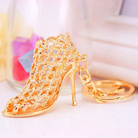 Wholesale Wholesale Trendy Heels - shoe keychain Women High Heeled Key chains ring Purse Pendant Bags Cars Shoe Ring Holder Chains Key Rings For Women Gifts