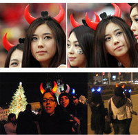 Wholesale Led Light Headwear - Halloween Led Devil Horns Lights Cheering Rave Toys Flashing Hair Clip HeadBand Light-emitting Hairpin Decoration